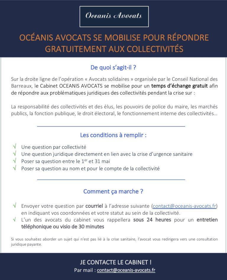 COVID-19 - OCEANIS AVOCATS se mobilise pour répondre gratuitement aux collectivités